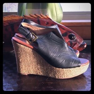 Matt Bernson Wedges Black Leather 9